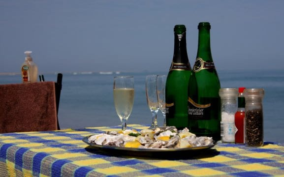 Sandwich Harbour picnic - champagne and oysters